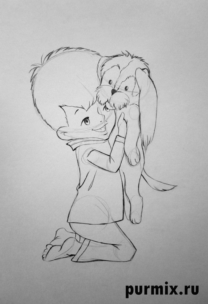 Рисуем Малыша и щенка простым