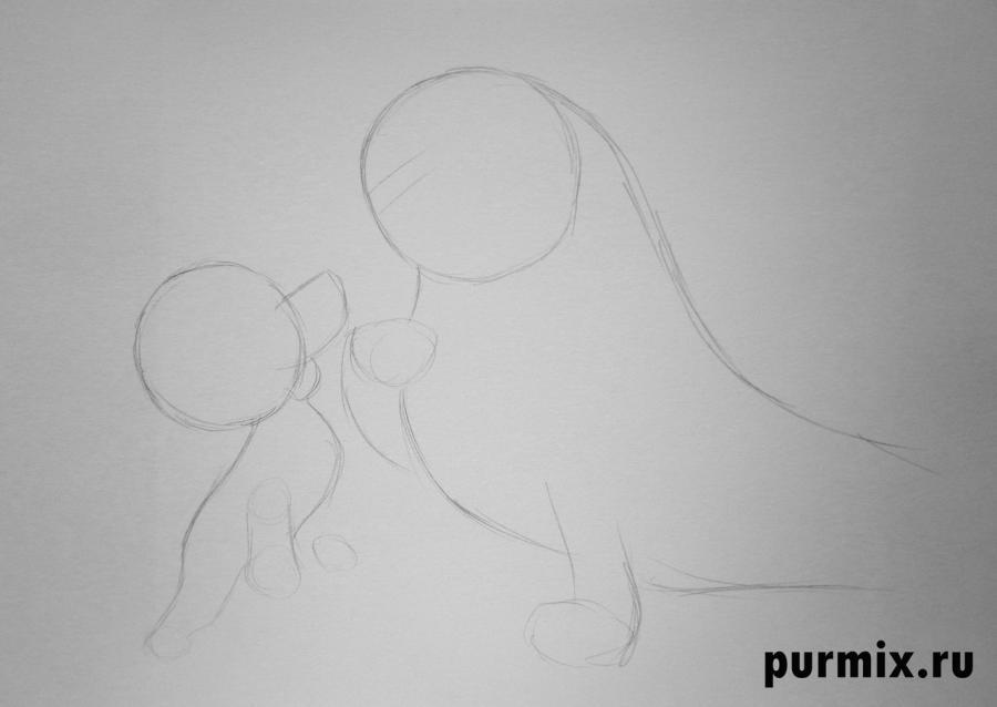 Рисуем Матильду и щенка из Малыш и Карлсон