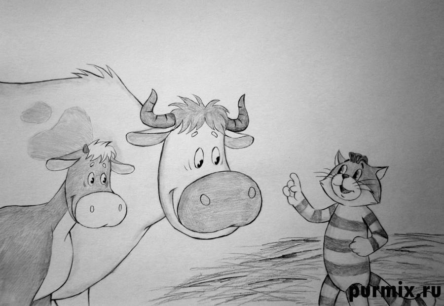 Как нарисовать Матроскина, Мурку и Гаврюшу из Трое из Простоквашино карандашом поэтапно