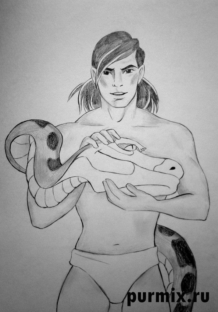 Рисуем Маугли и Каа простым  на бумаге
