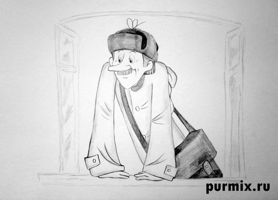 Как нарисовать почтальона Печкина из Трое из Простоквашино карандашом поэтапно