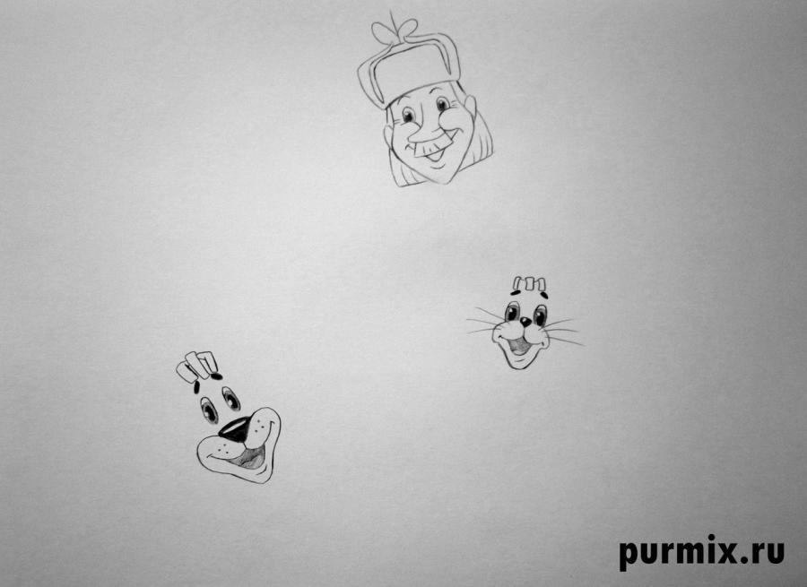 Рисуем почтальона Печкина, Шарика и Матроскина из Трое из Простоквашино - шаг 3