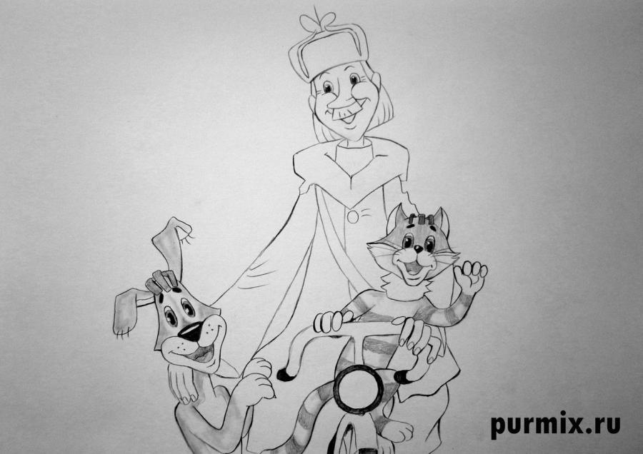 Рисуем почтальона Печкина, Шарика и Матроскина из Трое из Простоквашино - фото 6