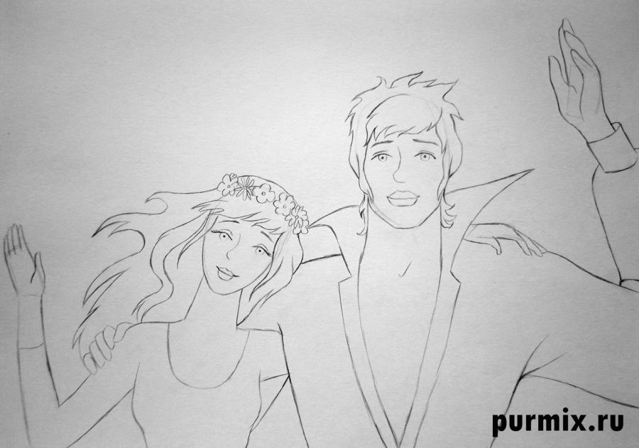 Рисуем принцессу и Трубадура из Бременских музыкантов