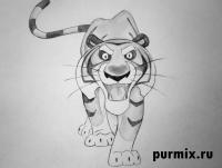 Шер-хана из мультсериала Маугли карандашом