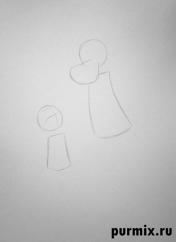 Рисуем Волка и Зайца из Ну погоди - шаг 1