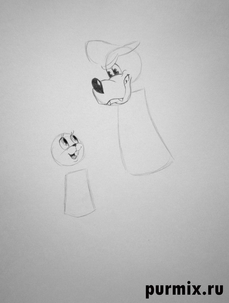 Рисуем Волка и Зайца в полный рост из Ну, погоди! - шаг 2