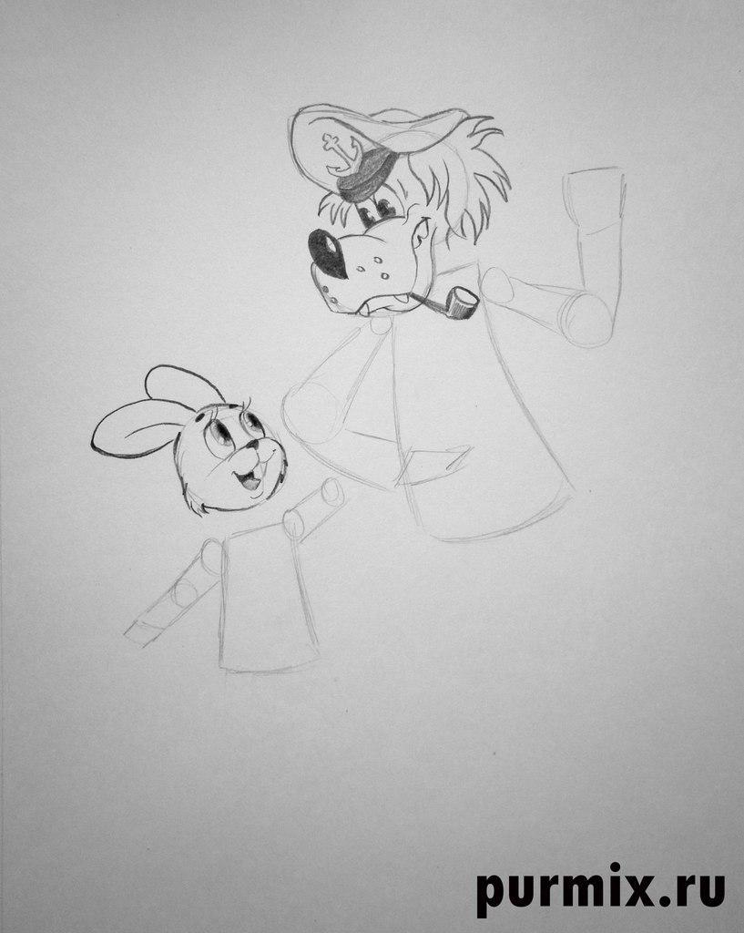 Рисуем Волка и Зайца в полный рост из Ну, погоди! - шаг 3