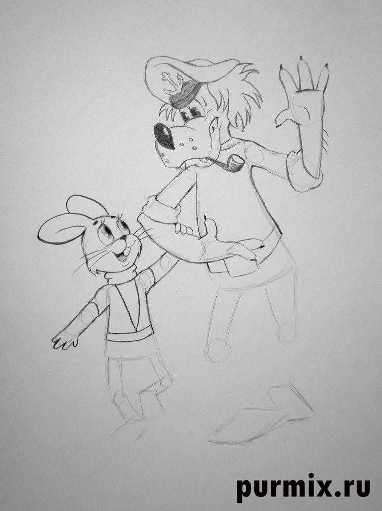 Рисуем Волка и Зайца в полный рост из Ну, погоди! - шаг 4