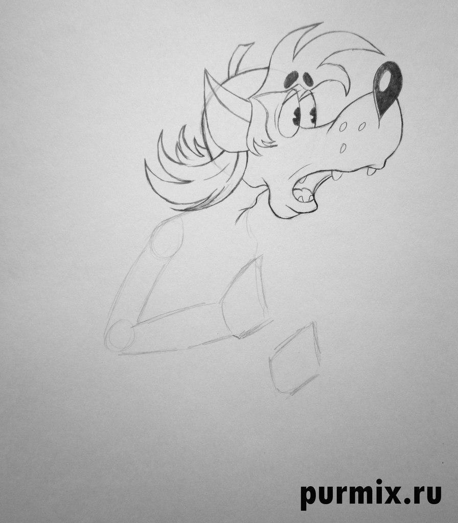 Рисуем испуганного Волка из Ну, погоди! простым - шаг 3