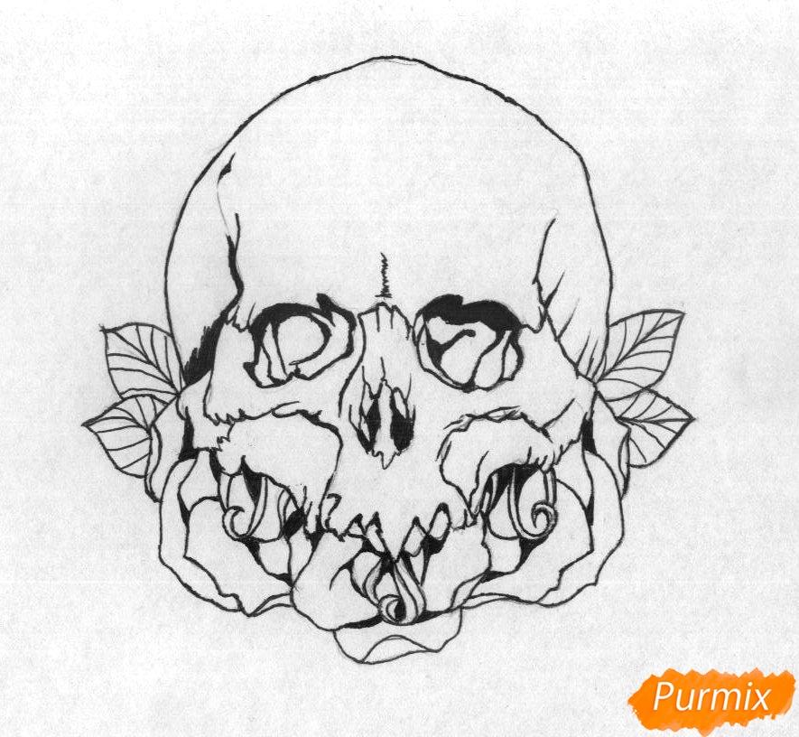 Рисуем череп с розами - шаг 3