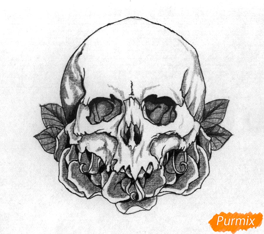 Рисуем череп с розами - шаг 4