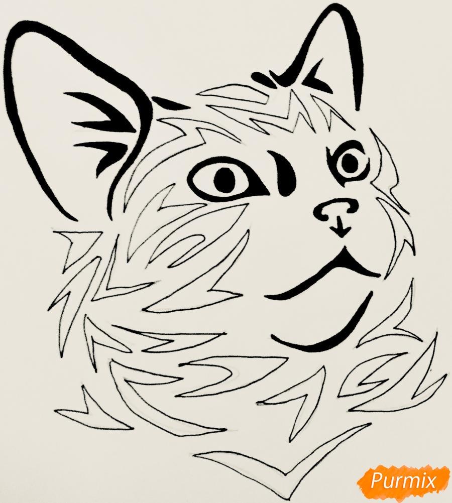 Рисуем портрет кошечки в стиле тату - фото 7