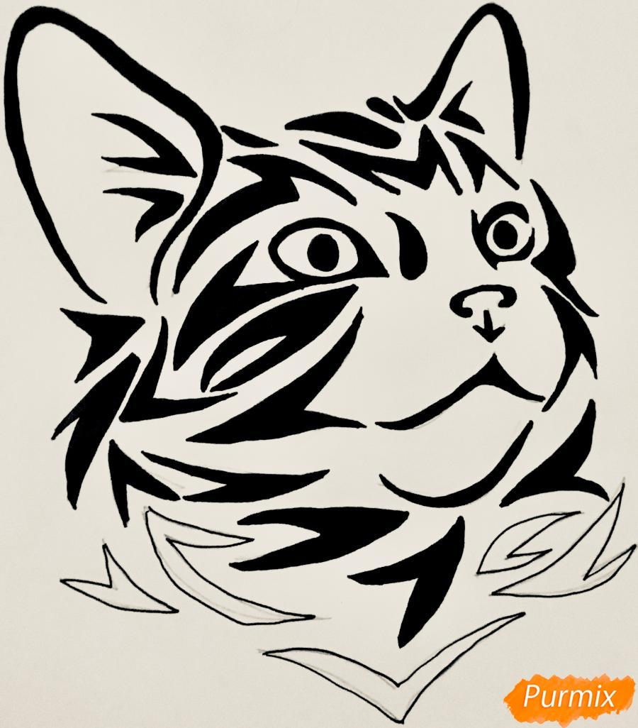 Рисуем портрет кошечки в стиле тату - фото 9