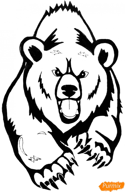 Рисуем медведя в стиле тату - фото 10