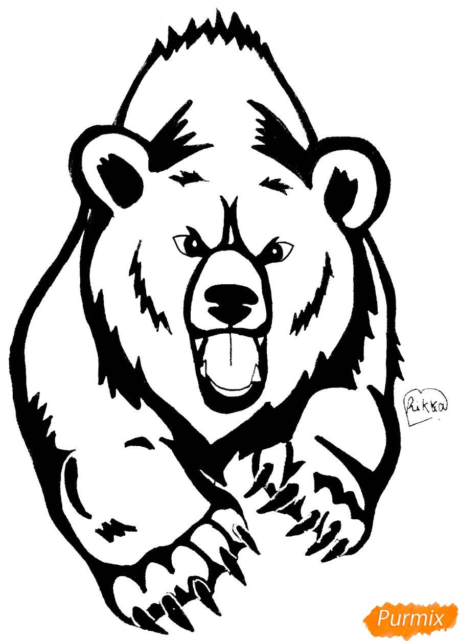 Как нарисовать медведя в стиле тату карандашом поэтапно