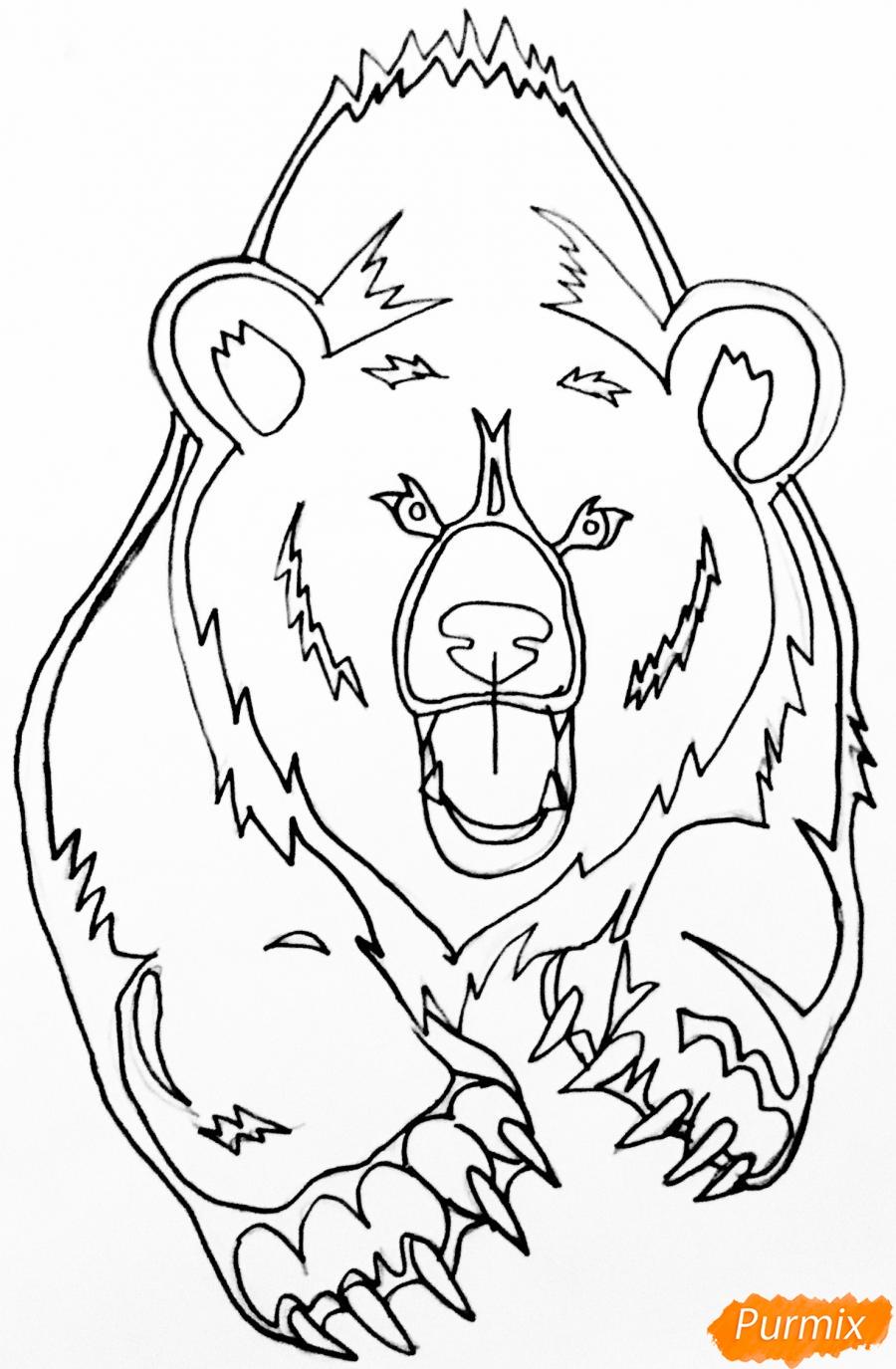 Рисуем медведя в стиле тату - фото 7