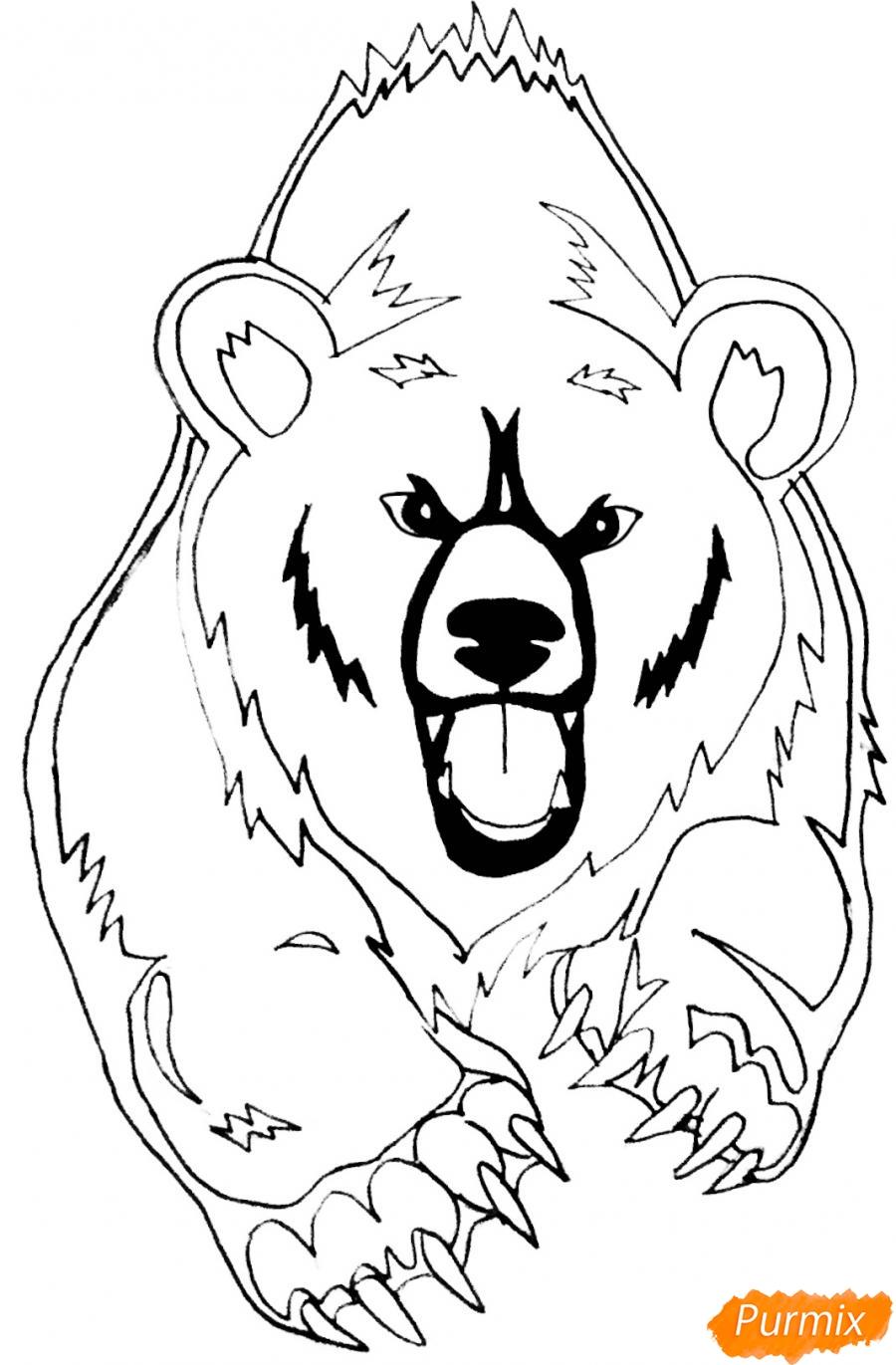 Рисуем медведя в стиле тату - фото 8