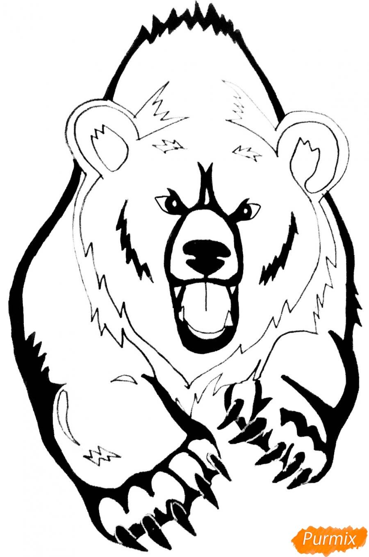 Рисуем медведя в стиле тату - фото 9