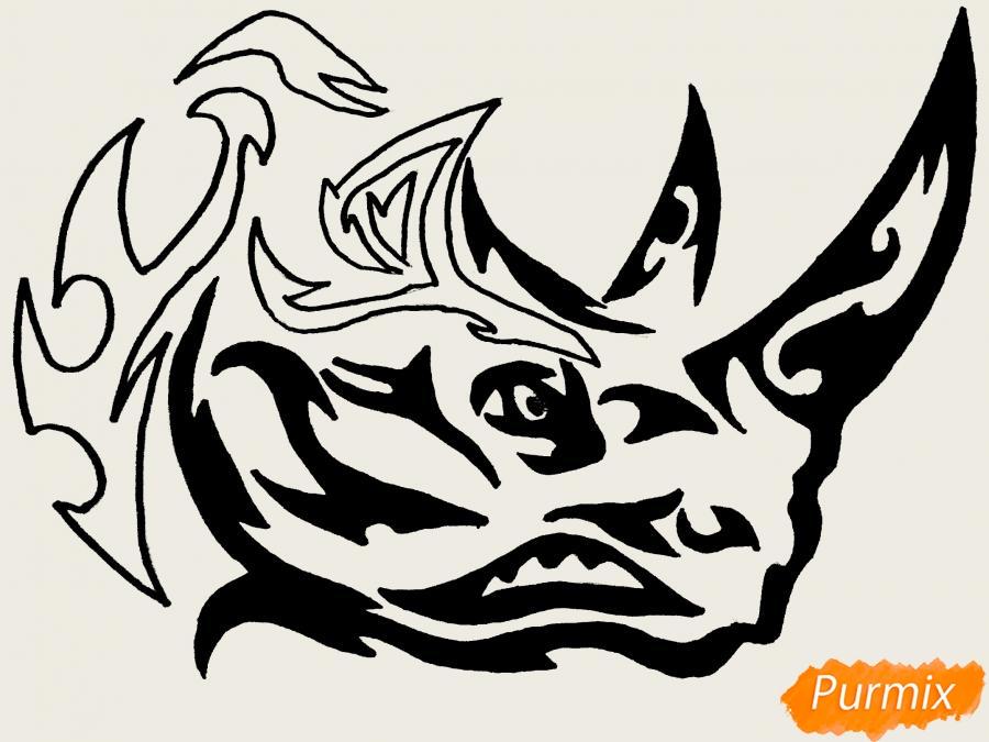 Рисуем носорога в стиле тату - фото 10