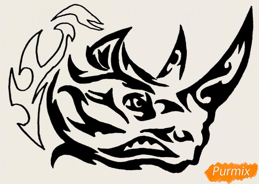 Рисуем носорога в стиле тату - фото 11