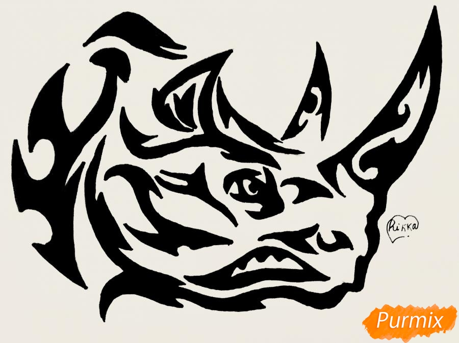Как нарисовать носорога в стиле тату карандашом поэтапно