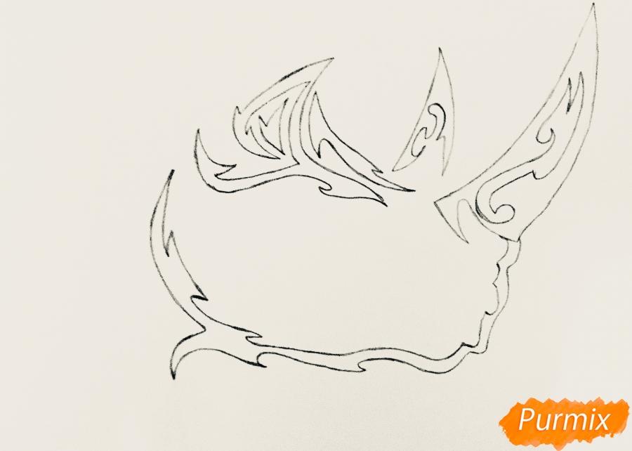 Рисуем носорога в стиле тату - шаг 3