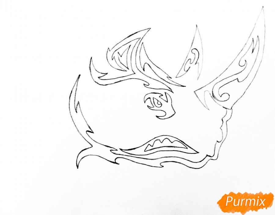 Рисуем носорога в стиле тату - шаг 4