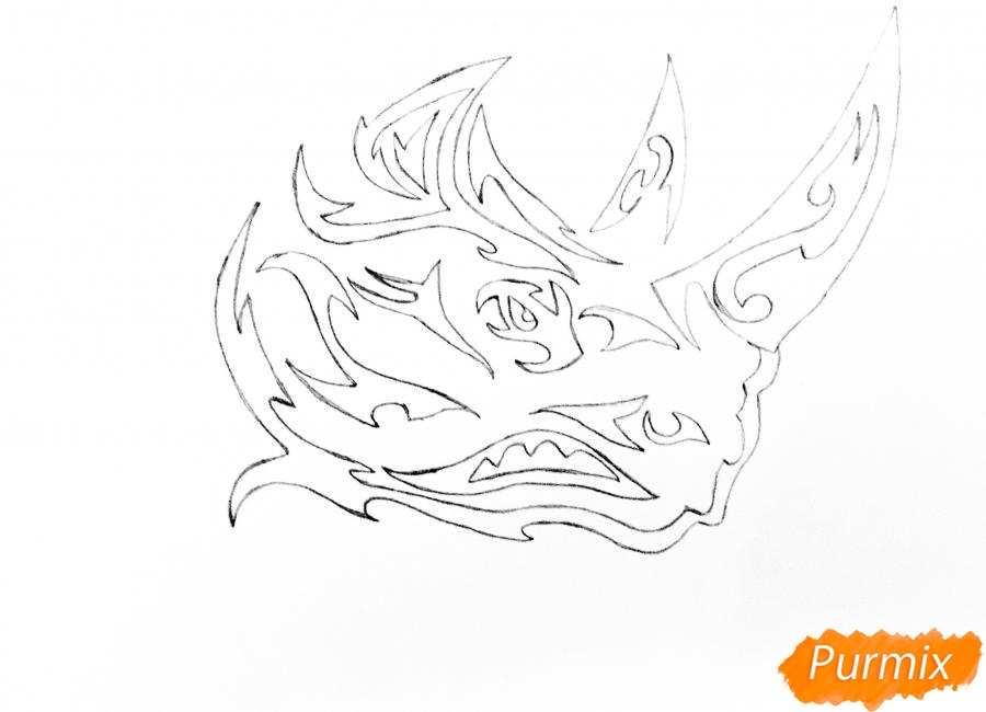 Рисуем носорога в стиле тату - шаг 5