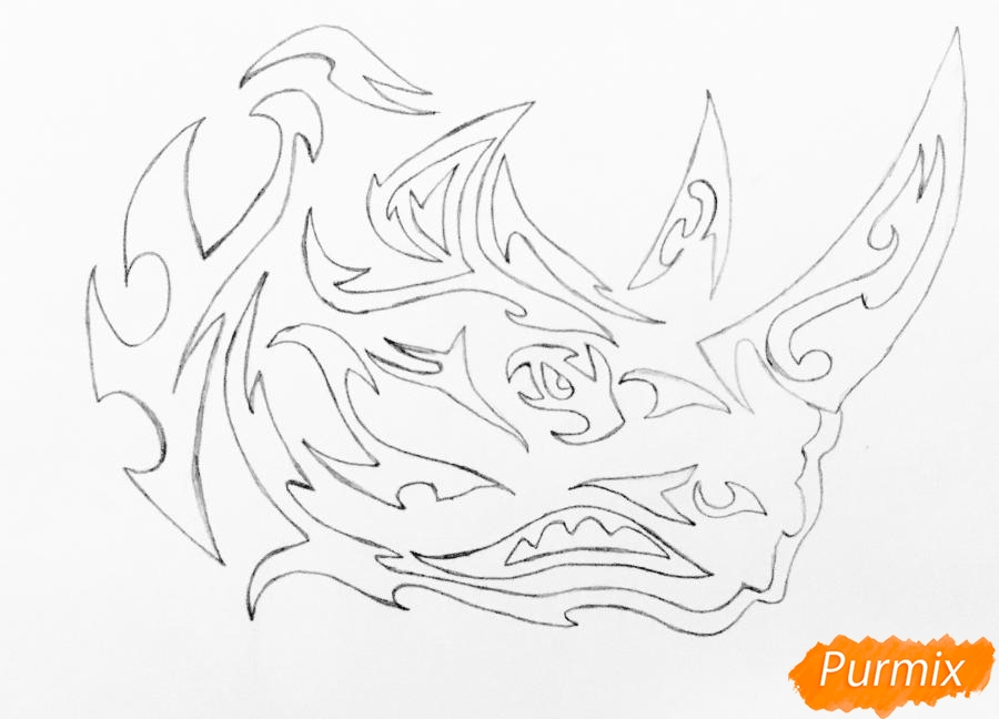 Рисуем носорога в стиле тату - шаг 6