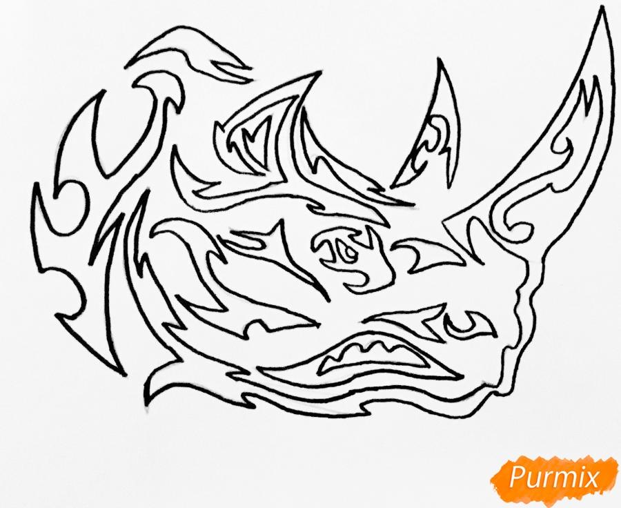 Рисуем носорога в стиле тату - шаг 7
