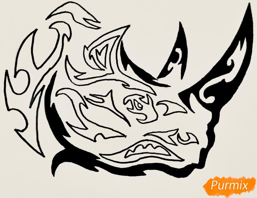Рисуем носорога в стиле тату - фото 8