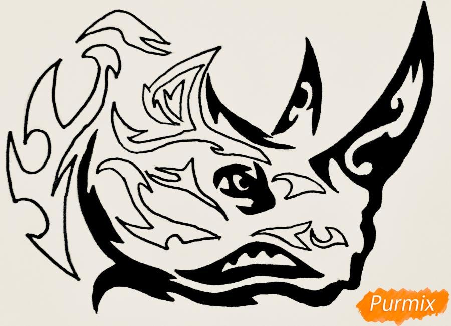 Рисуем носорога в стиле тату - фото 9
