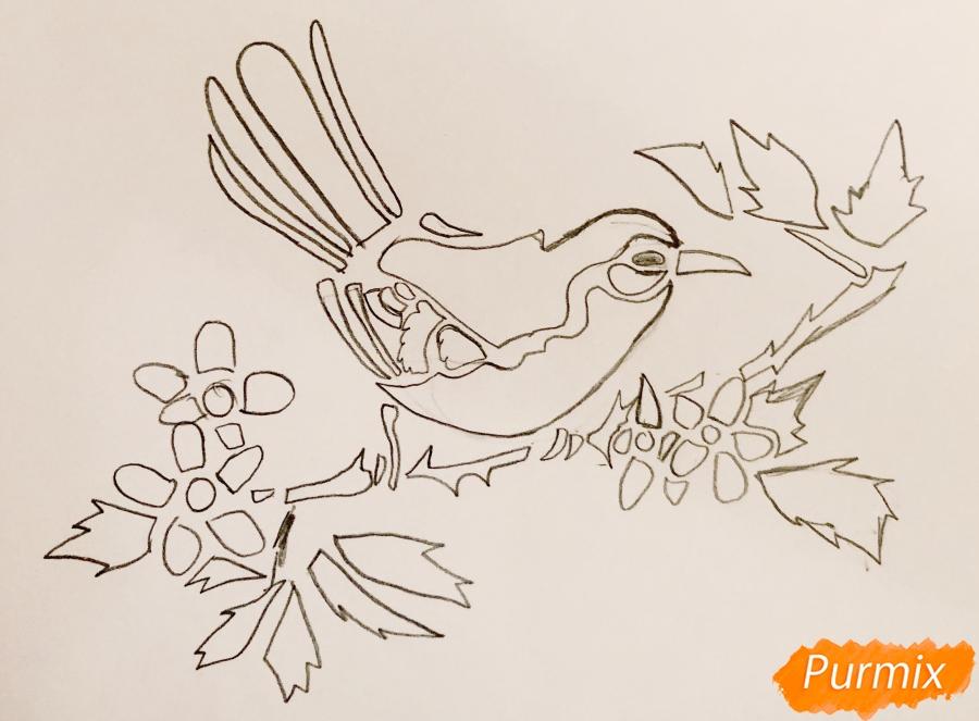 Рисуем тату синицу  и ручкой - фото 4