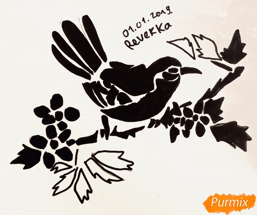 Рисуем тату синицу  и ручкой - фото 7