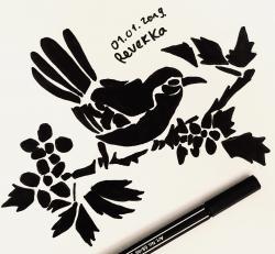 Рисунок тату синицу  и ручкой