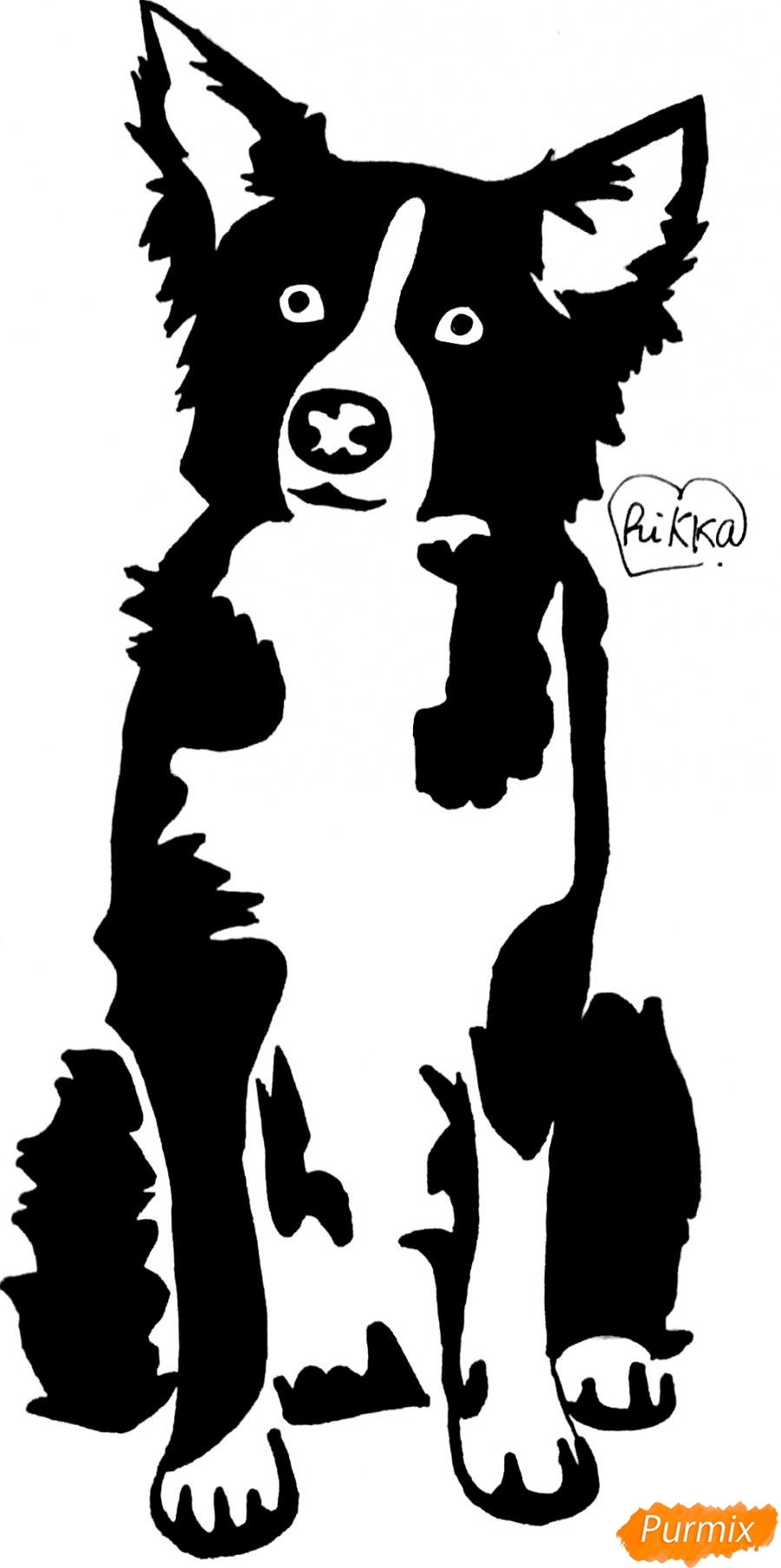 Как нарисовать тату собаку карандашом поэтапно