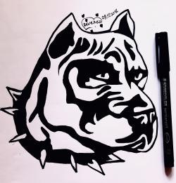 Рисунок стаффордширского терьера в стиле тату