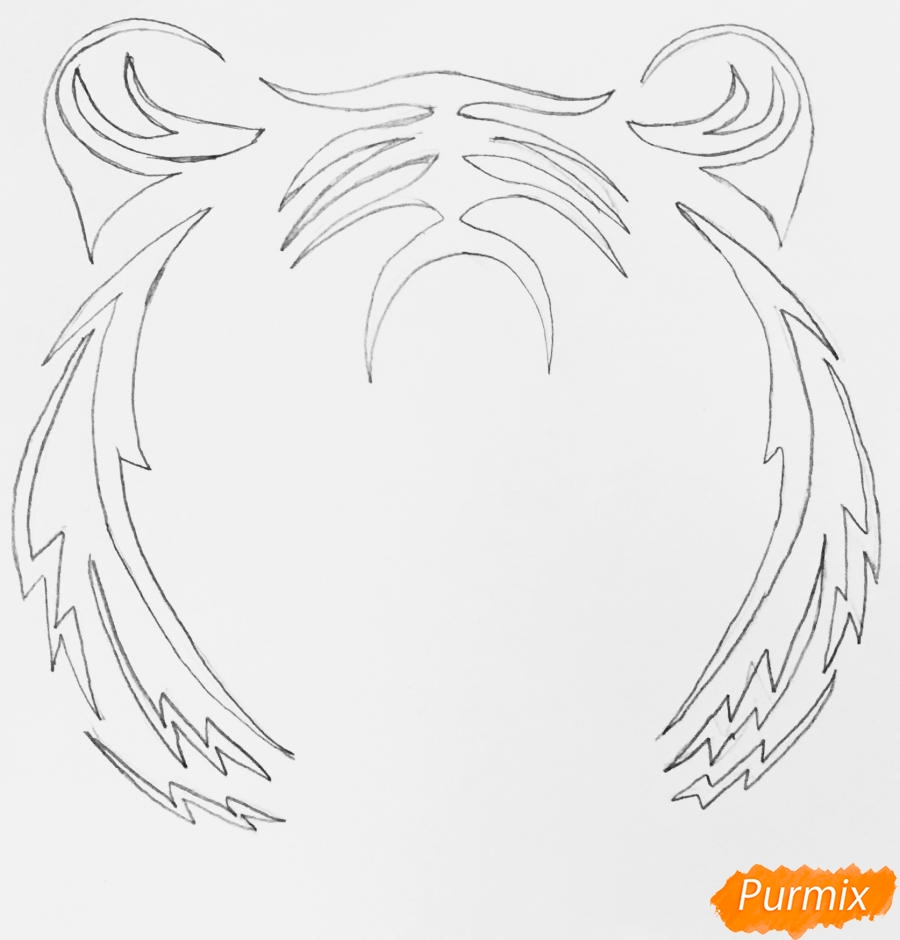 Рисуем тигра в стиле тату - шаг 2