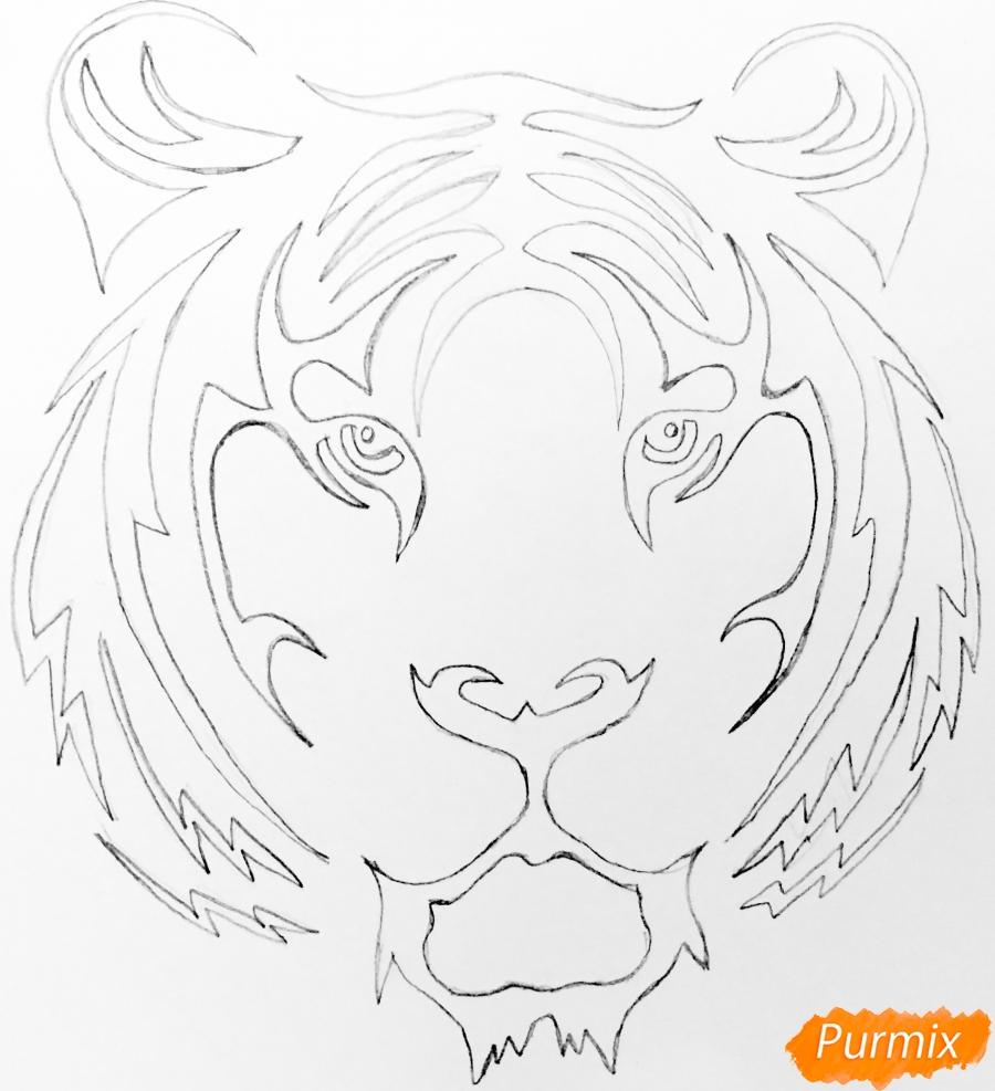 Рисуем тигра в стиле тату - шаг 4