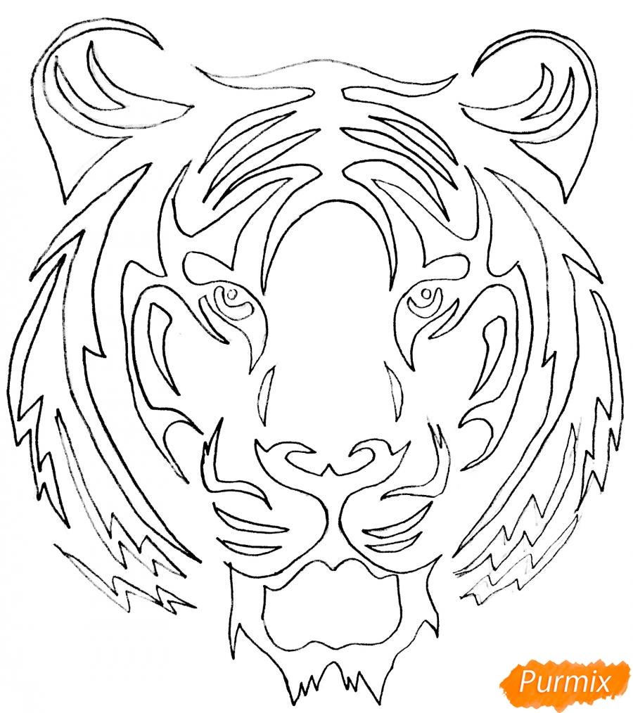 Рисуем тигра в стиле тату - фото 5