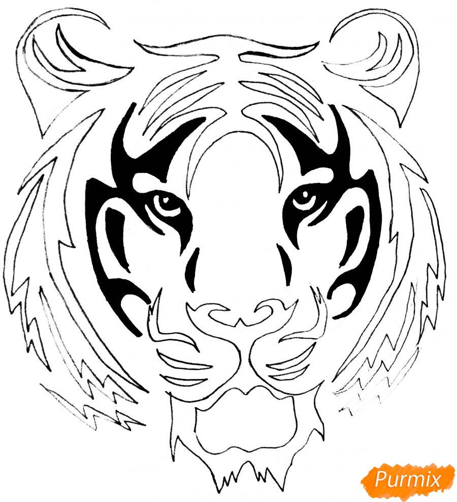 Рисуем тигра в стиле тату - шаг 6