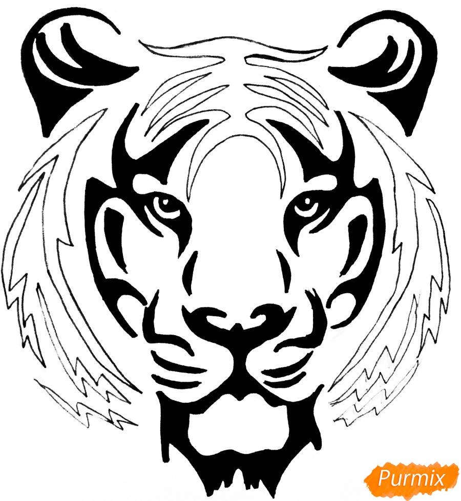 Рисуем тигра в стиле тату - фото 7