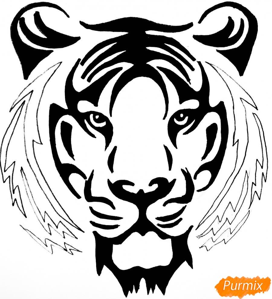 Рисуем тигра в стиле тату - фото 8