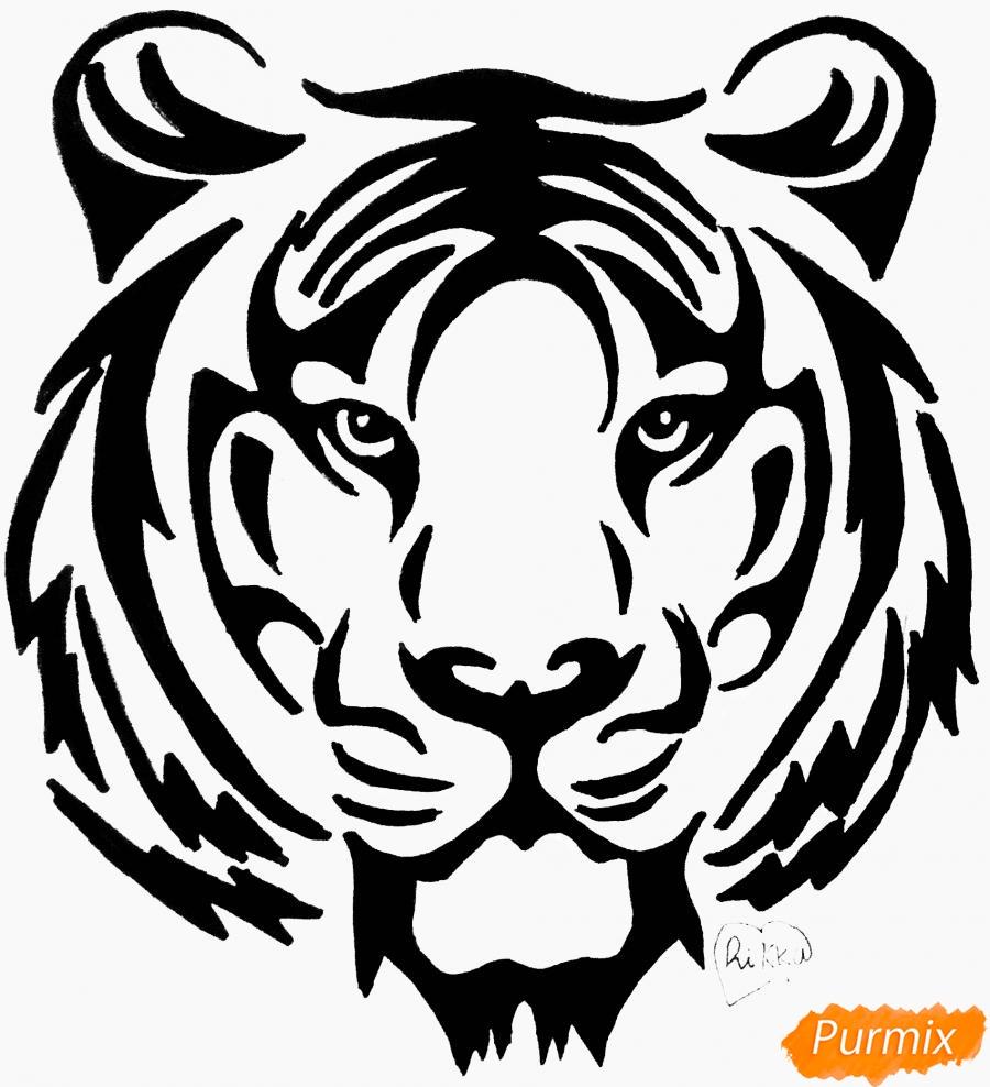 Как нарисовать тигра в стиле тату карандашом поэтапно