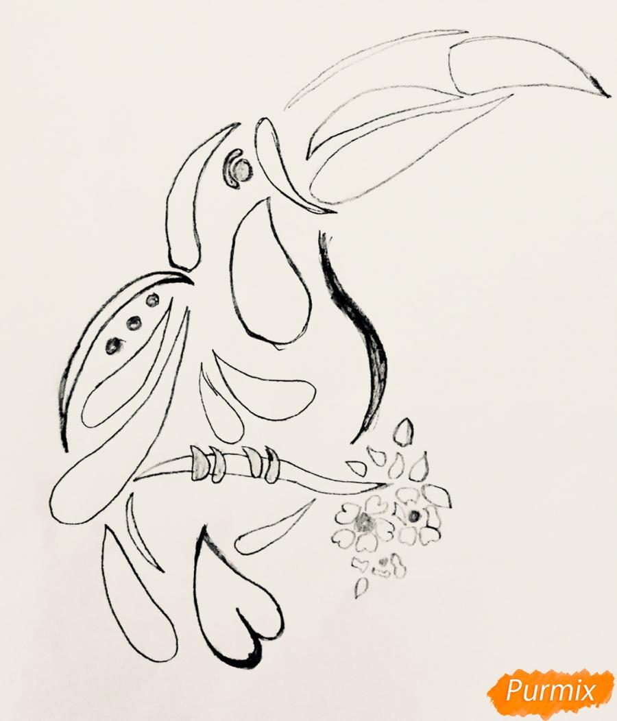 Рисуем тукана в стиле тату - фото 4