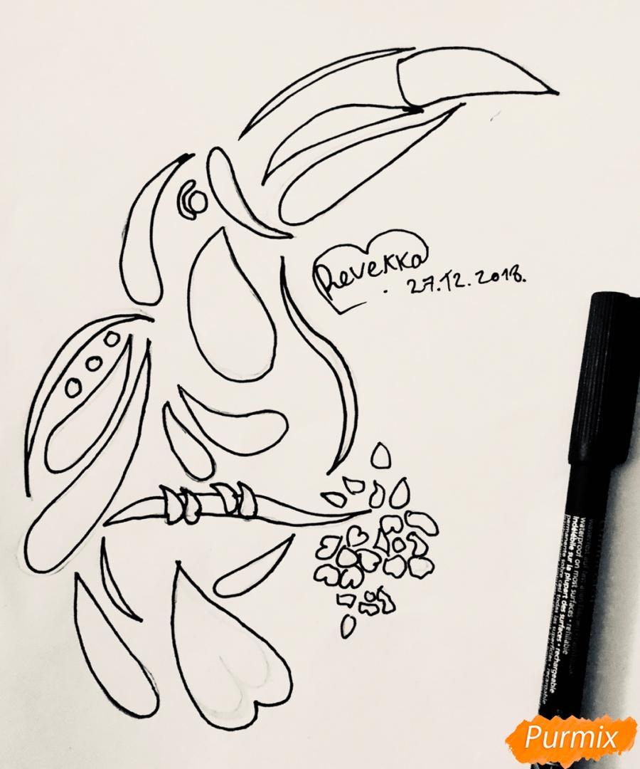 Рисуем тукана в стиле тату - фото 5