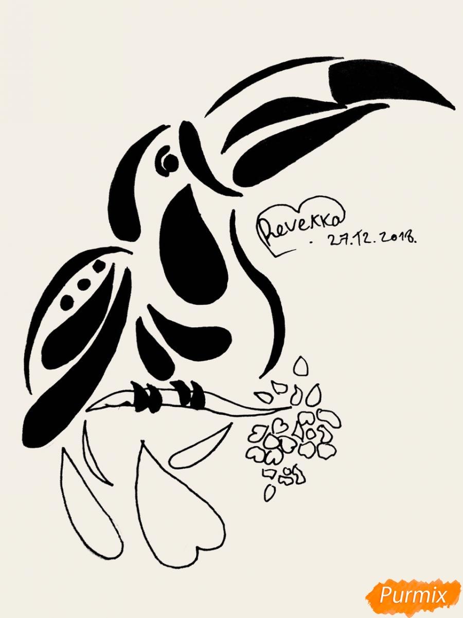Рисуем тукана в стиле тату - фото 7