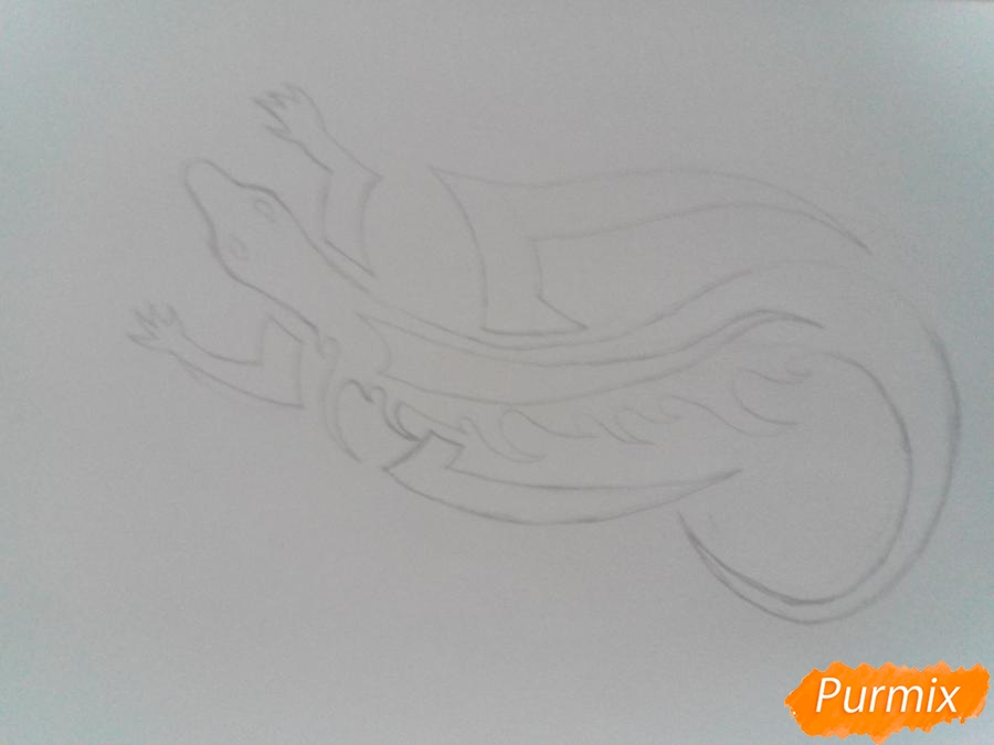 Рисуем тату ящерицу - фото 3
