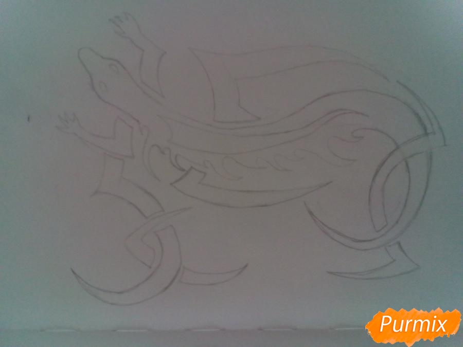 Рисуем тату ящерицу - фото 4